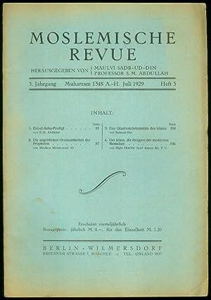 5.Jahrgang. Heft 3. Herausgegeben von Maulvi Sadr-Ud-Din und S.M.Abdullah.: MOSLEMISCHE REVUE -