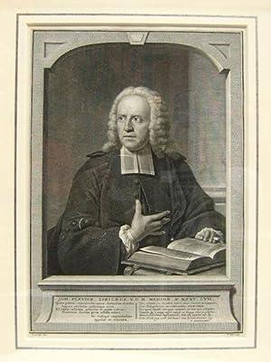 PORTRET. Johannes Plevier (1685-1762) op middelbare leeftijd gekleed in toga met platte bef, ...