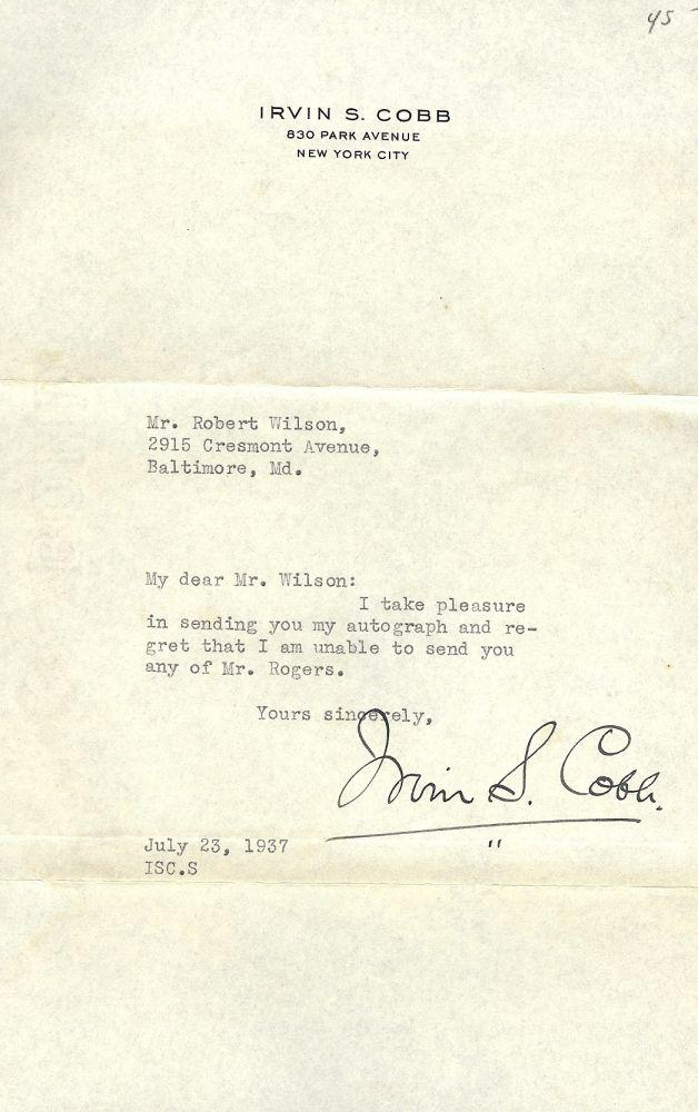 Typed Letter Signed By Cobb Irvin S 1937 Signed By Author S Antic Hay Books