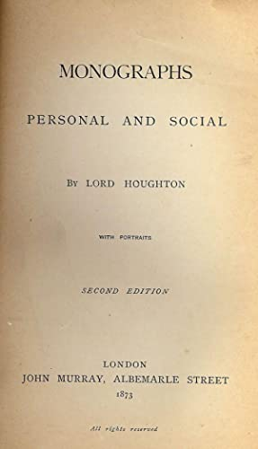MONOGRAPHS: PERSONAL AND SOCIAL: HOUGHTON, Lord