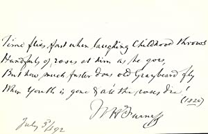 Autograph Manuscript Signed: FURNESS, William Henry