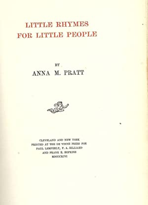 LITTLE RHYMES FOR LITTLE PEOPLE: PRATT, Anna M.