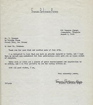 Typed Letter Signed: KEYES, Frances Parkinson