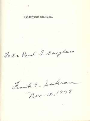 PALESTINE DILEMA: ARAB RIGHTS VERSUS ZIONIST ASPIRATIONS: SAKRAN, Frank C.