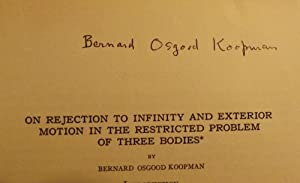ON REJECTION INFINITY EXTERIOR MOTION RESTRICTED PROBLEM THREE BODIES: KOOPMAN, B.O.