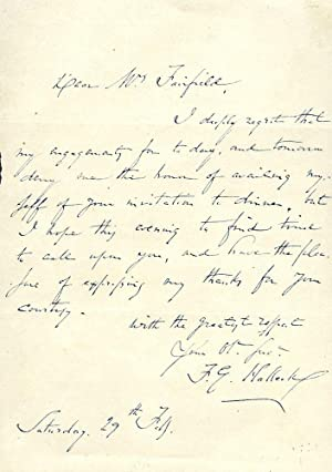 AUTOGRAPH LETTER SIGNED: HALLECK, FITZ-GREENE