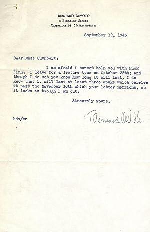 Typed Letter Signed: DE VOTO, Bernard