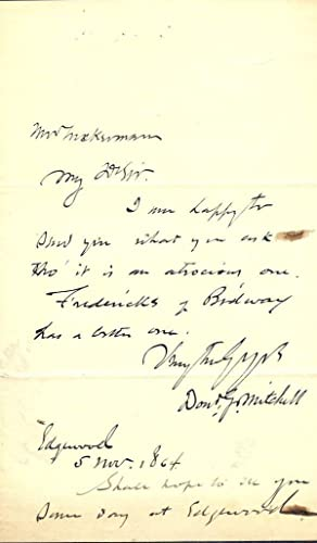 Autograph Letter Signed: MITCHELL, Donald G.