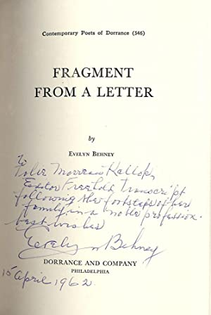FRAGMENT FROM A LETTER: BEHNEY, Evelyn