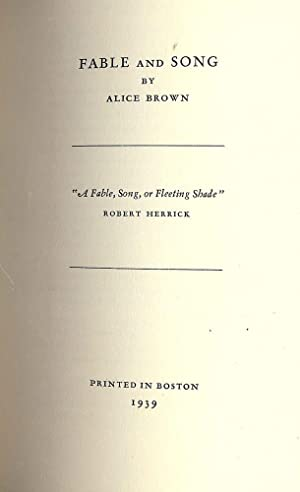 FABLE AND SONG: BROWN, Alice