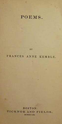 POEMS: KEMBLE, Frances Anne