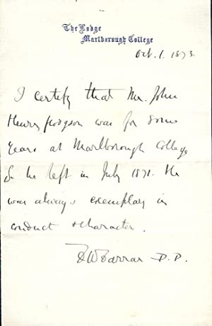 Autograph Letter Signed: FARRAR, Frederic William