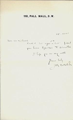 Autograph Letter Signed: BULLOCH, J.M.
