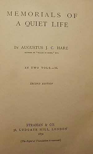 MEMORIALS OF A QUIET LIFE: HARE, Augustus J.C.