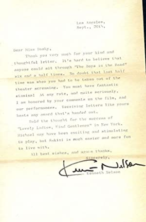 Autograph Letter Signed: NELSON, Kenneth