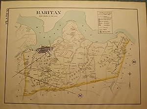 RARITAN 1889 MAP: WOLVERTON'S ATLAS OF MONMOUTH COUNTY