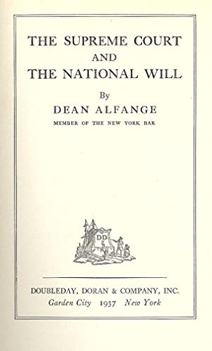 THE SUPREME COURT AND THE NATIONAL WILL: ALFANGE, Dean