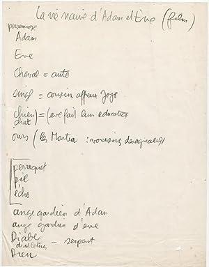Manuscrit : La Vie naïve d'Adam et: Effel, Jean (François