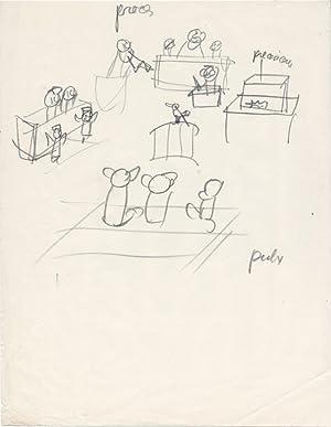 Trois dessins originaux : scènes de Tribunal: Effel, Jean (François