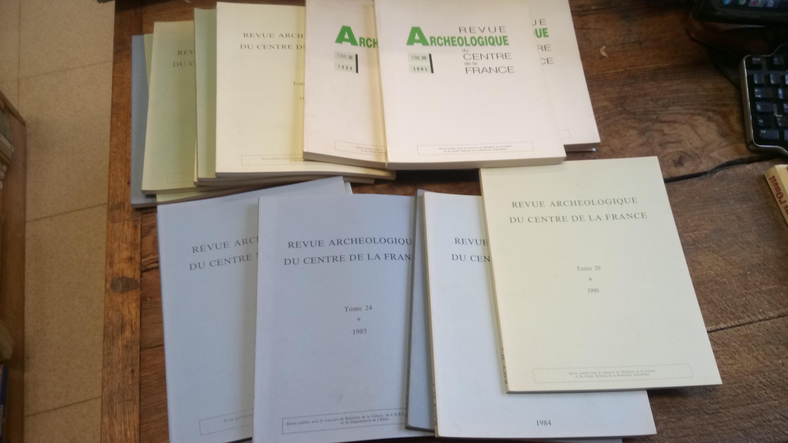 Revue archéologique du centre de la France 16 volumes 10 tomes - tome 23 - 1984 - tome 24 - 1985 ( 1 vol 1ère partie ) - Tome 25 - 1986 - tome 26 - 1