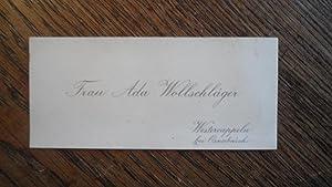 Visitenkarte Frau Ada Wollschläger [Großmutter von Hans