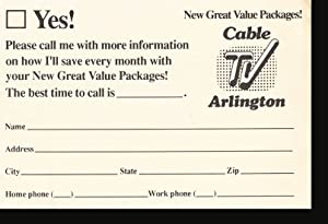 Direct Mail Postcard: Cable TV Arlington