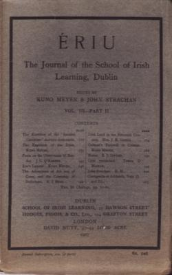 riu: The Journal of the School of Irish Learning, Dublin Vol. 3 Part 2: Meyer, Kuno and Strachan, ...