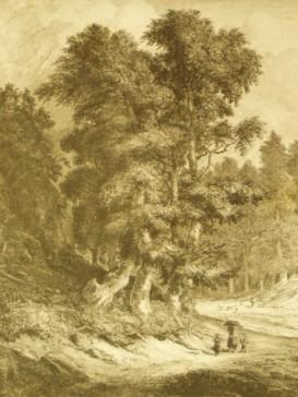 Die Reisigträgerin mit zwei Kindern am Eingang zum Wald.: Wagner, Carl (1796 Rossdorf/ Rh�n -...
