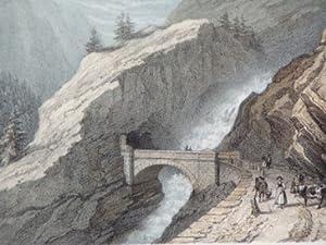Route du Simplon. Pont et galerie de Gondo.