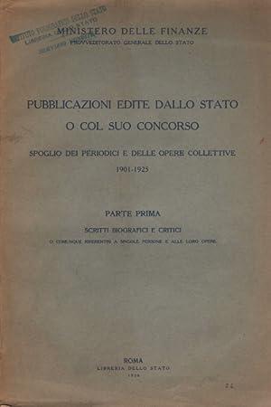 Pubblicazioni edite dallo stato o col suo concorso. Spoglio dei periodici e delle opere collettive....