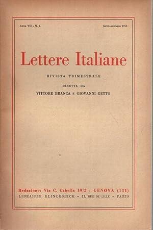 Lettere Italiane. Anno VII, 1955. Volumi 4 rivista trimestrale: AA.VV.