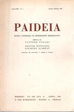 Paideia. Anno XVIII, 1963. Volumi 4 rivista letteraria di informazione bibliografica: AA.VV.