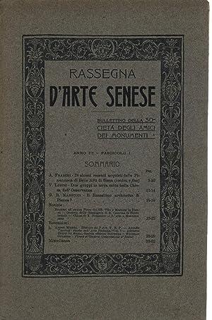 Rassegna d'arte Senese Anno III, Fasc. I: AA.VV.