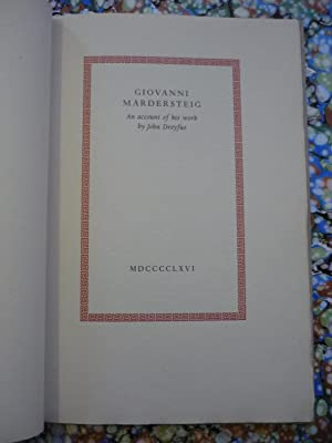 Giovanni Mardersteig. An account of his work by John Dreyfus.Verona,Mardersteig. Stampato come om...