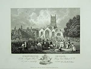 An Original Antique Engraving llustrating Cirencester Church in Gloucestershire. Published in 1825