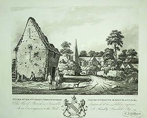 Original Antique Aquatint Engraved Print Illustrating Cheviock: An Original Antique