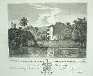 Original Antique Engraving Illustrating Priory House, Bodmin: An Original Antique