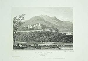 Original Antique Engraving Illustrating Flesk Castle (general view) in Kerry, The Seat of John Co...