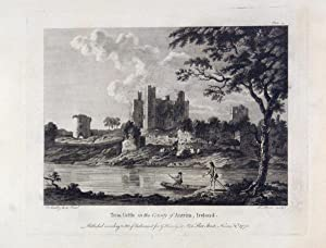 Original Antique Engraving Illustrating a View of Trim Castle in the County of Antrim, Ireland. B...