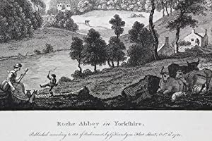 Original Antique Engraving Illustrating a View of Roche Abbey, in Yorkshire. By Paul Sandby. Titled...
