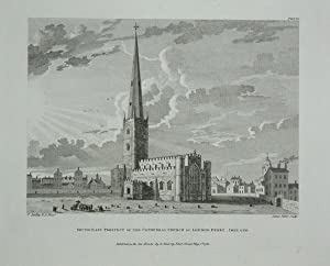 Original Antique Engraving Illustrating a View of South East Prospect of the Cathedral Church of ...