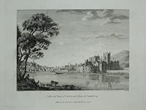 Original Antique Engraving Illustrating a View of the Castle and Town of Carrick and Abbey of Car...