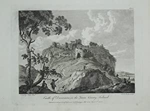 Original Antique Engraving Illustrating a View of Castle of Dunamau, in the Queen's County, Irela...