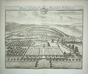 Original Engraved Antique Print Illustrating a Birdseye View of Wyck in Gloucestershire, The Seat...