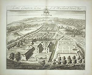 Original Engraved Antique Print Illustrating a Birdseye View of Little Compton in Gloucestershire...