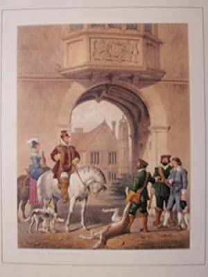 A Fine Original Hand Coloured Lithograph Illustration of Charlcote in Warwickshire from The ...
