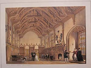 A Fine Original Hand Coloured Lithograph Illustration of the Hall at Milton Abbey in Dorsetshire ...