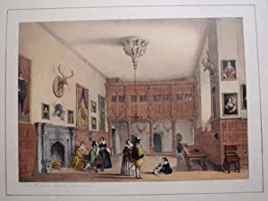 A Fine Original Hand Coloured Lithograph Illustration of the Hall at Wroxton Abbey in Oxfordshire ...