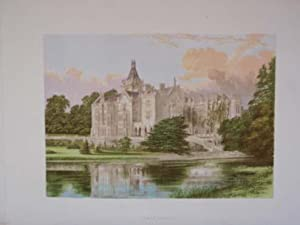 An Original Antique Colour Print Illustrating Adare Manor in County Limerick. Published Ca 1880.