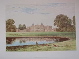 An Original Antique Woodblock Colour Print Illustrating Appleby Castle in Westmoreland, from The ...